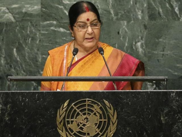 External affairs minister Sushma Swaraj speaks during the 71st session of the United Nations General Assembly at UN headquarters on Monday.