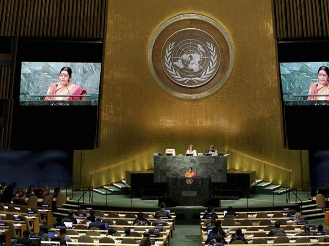 Sushma Swaraj speaks during the 71st session of the United Nations General Assembly at UN headquarters.