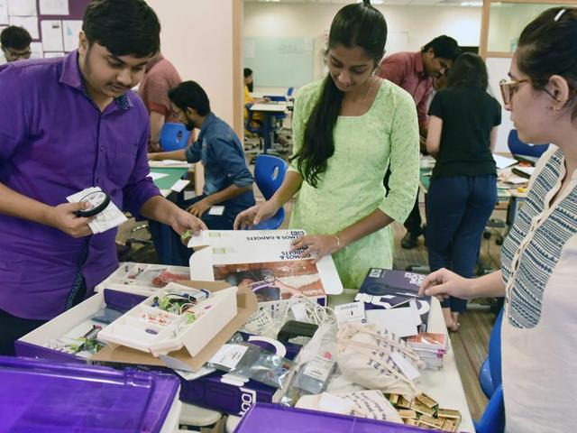 Teachers of various schools participate in a workshop to learn new classroom techniques at American School of Bombay, BKC.