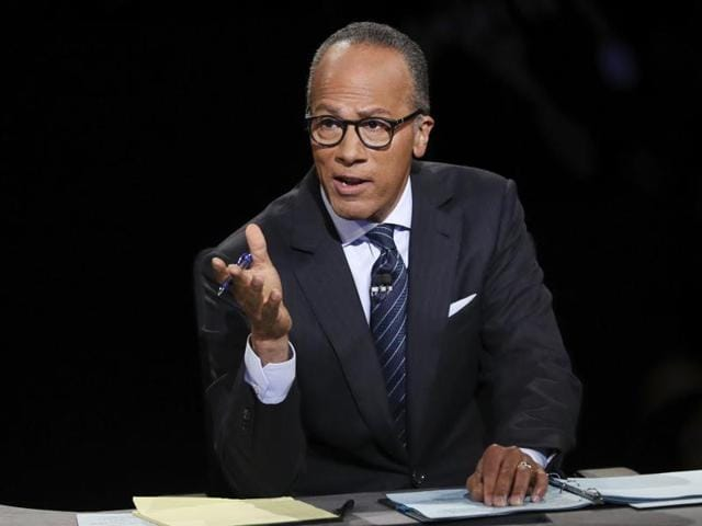 Moderator Lester Holt, anchor of NBC Nightly News, asks a question during the presidential debate at Hofstra University in Hempstead, New York on Monday