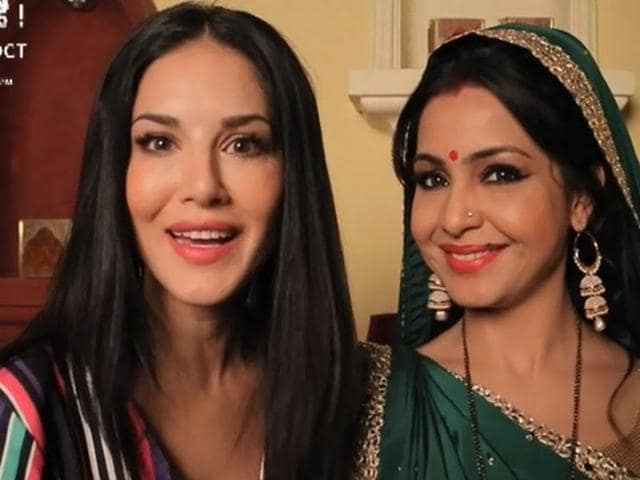Sunny Leone and Shubhangi Atre in a promotional video for special Bhabhiji Ghar Par Hai episodes.