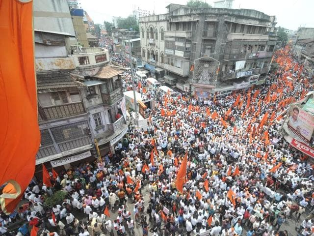 Marathas hold a silent march in Pune.