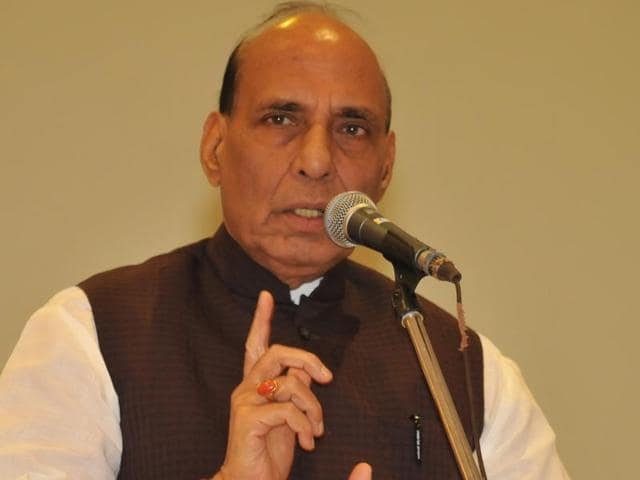 Union home minister Rajnath Singh at the memorial ceremony for slain RSS Punjab vice-president Brig Jagdish Gagneja (retd) in Jalandhar on Tuesday.