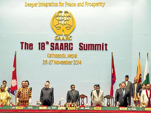 PM Narendra Modi had revived the proposed Saarc satellite at the 18th Saarc summit in Kathmandu in November 2014. (HT File Photo)