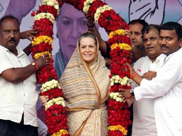 Congress president Sonia Gandhi during an election rally in Balasore, Odisha.