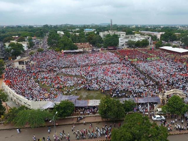 The Maratha community held a protest rally demanding reservation in Yawatmal on Sunday.
