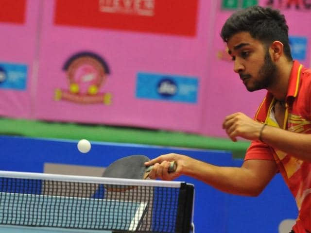 Paddlers on the second day of national table tennis championship at Abhay Prashal in Indore on Tuesday.