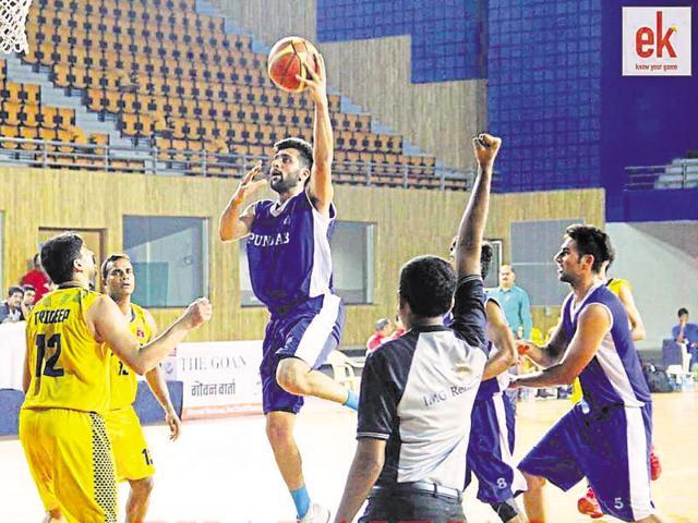 Arshpreet Bhullar, national basketball champion, Hindu College, Delhi University, participating in a tournament.