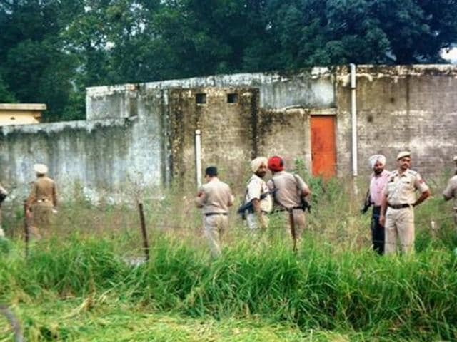 Police men during a search operation in Pathankot on Tuesday after a high alert was sounded following inputs about suspicious movement of some people.