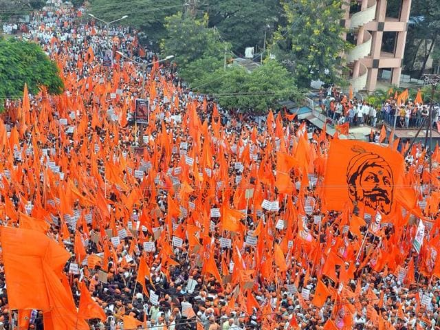 A silent protest held by Maratha community at Sangli  yesterday.