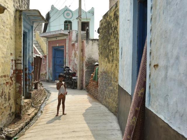 A boy stands on a narrow lane in Bisada village.