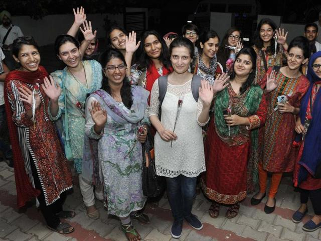 Pakistani delegates at the Global Youth Peace Conference in Chandigarh.(Keshav Singh/ HT Photo)