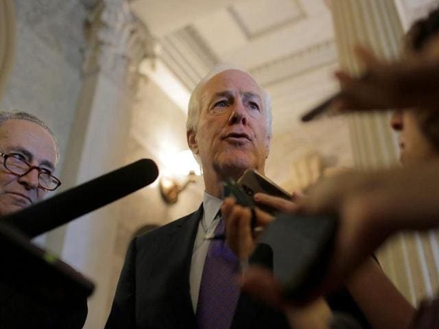 Senator John Cornyn (R-TX) speaks after the Senate voted to override US President Barack Obama's veto of a bill that would allow lawsuits against Saudi Arabiaover the September 11 attacks, on Capitol Hill in Washington.