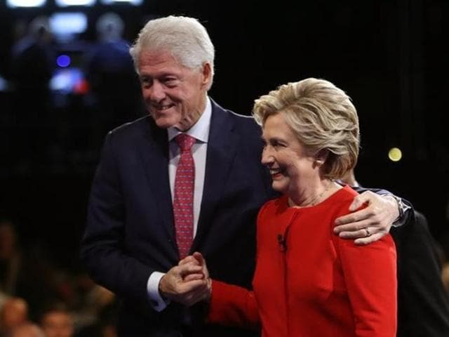 Democratic US presidential nominee Hillary Clinton with her husband, former president Bill Clinton, after the first debate with Republican US presidential nominee, Donald Trump, in New York, US, on September 26, 2016.