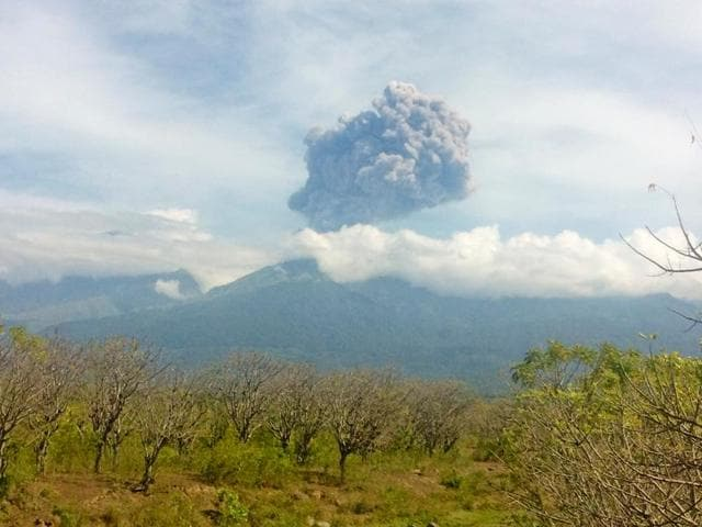 Mount Barujari, located inside Mount Rinjani volcano, is seen erupting from Bayan district, North Lombok, Indonesia on September 27, 2016.