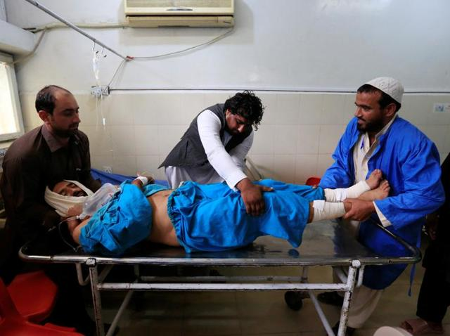 An Afghan citizen wounded in a suspected US airstrike receives treatment at a hospital in Jalalabad.