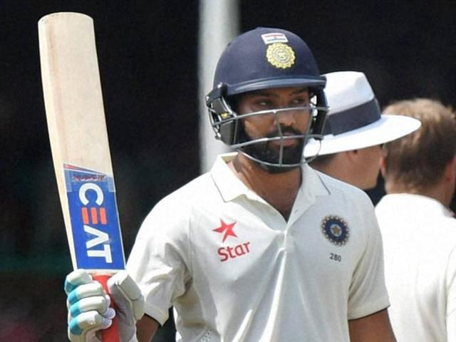 Rohit Sharma bats during 4th day of 1st Test match between India and New Zealand.