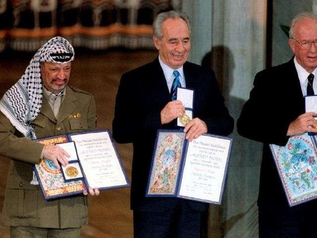 Peres shared the Nobel with Yasser Arafat and Yitzhak Rabin.(REUTERS FILE)