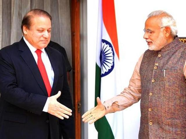 Pakistan Prime Minister Nawaz Sharif with Prime Minister Narendra Modi prior to a meeting at Hydrabad House in New Delhi.