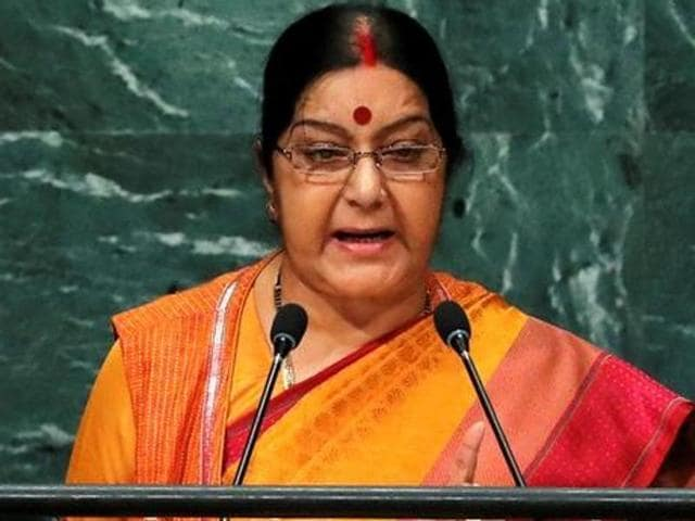India's external affairs minister Sushma Swaraj addresses the United Nations General Assembly in New York, on September 26, 2016.