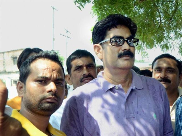 Former RJD MP Mohammad Shahabuddin with his supporters in Siwan on Monday.