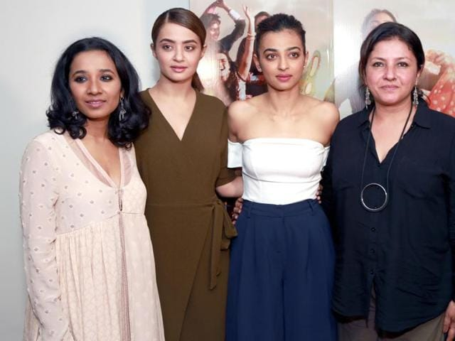 Radhika Apte, Surveen Chawla, Tannishtha Chatterjee and filmmaker Leena Yadav during a press conference of their film Parched.