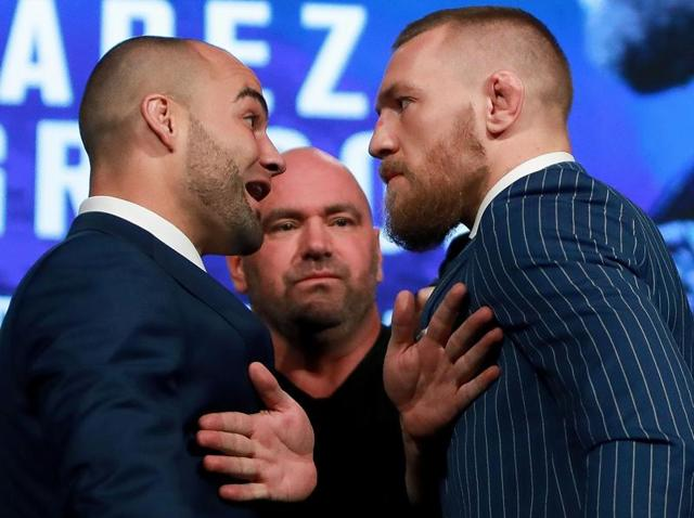 Conor McGregor and Eddie Alvarez face-off as UFC president Dana White breaks them up at the UFC 205 press conference.