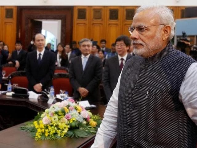 In this file photo, Prime Minister Narendra Modi arrives for a meeting with his Vietnamese counterpart Nguyen Xuan Phuc (not pictured) at the Government office in Hanoi, Vietnam September 3, 2016.