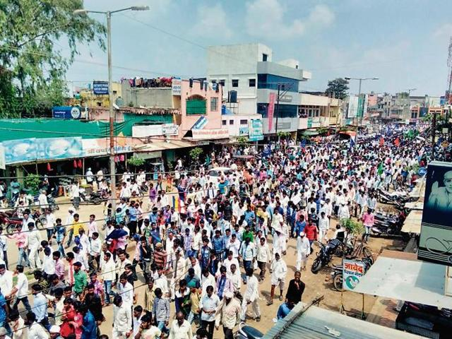 The Dalit community held a rally in Latur on Wednesday.(HT photo)