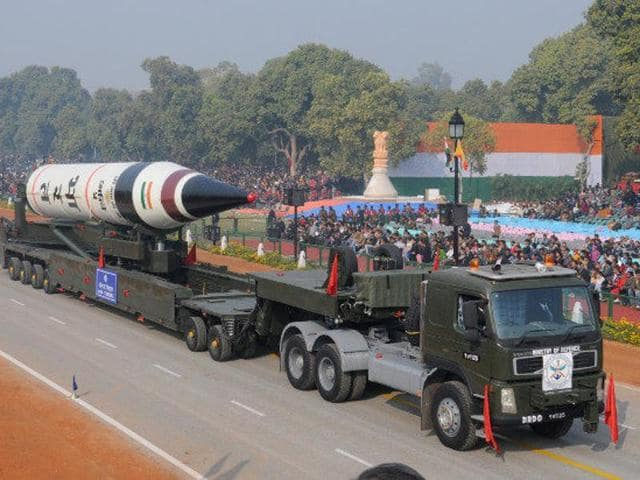 The Agni-V Missile in a dress rehearsal for the Republic Day Parade in January 2013.(Reuters)