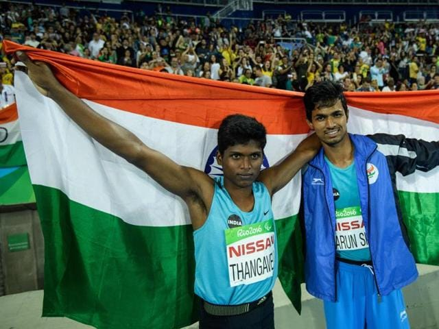 Gold medal winners Mariyappan Thangavelu (L) and Devendra Jhajharia (not in picture) will be awarded Rs 30 lakh each. Varun Singh Bhati (right) will get Rs 10 lakh for his bronze while Deepa Malik will be awarded Rs 20 lakh.
