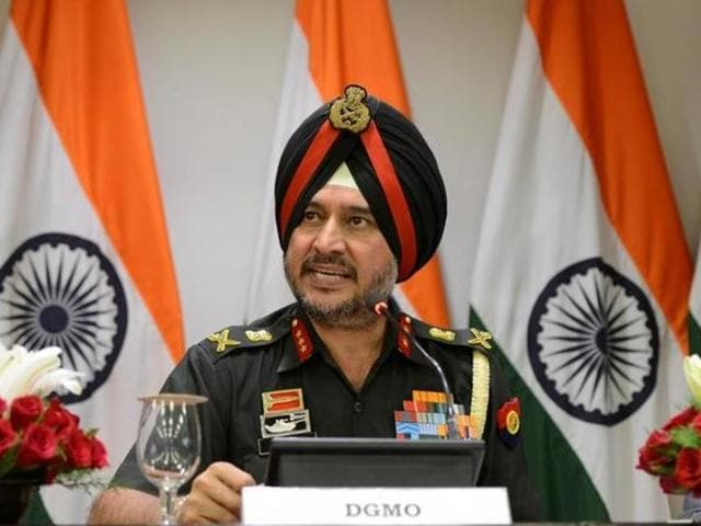 Indian army's director general of military operations Lt General Ranbir Singh speaks during a media briefing in New Delhi.(Reuters)