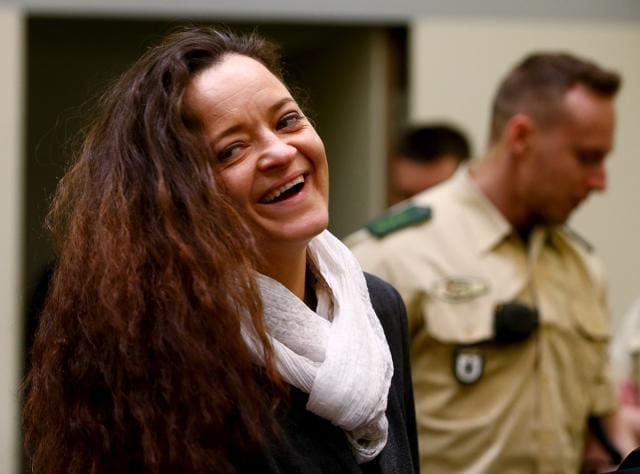 Terror suspect Beate Zschaepe arrives at the court room in Munich, southern Germany on Thursday. Zschaepe, surviving member of the NSU German neo-Nazi trio accused of a string of racist killings broke her silence for the first time, claiming she no longer held far-right views.