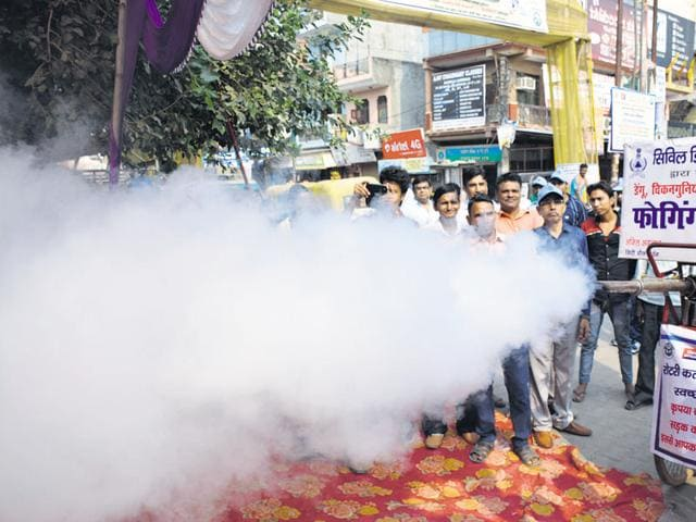 A fogging drive in Ghaziabad onWednesday to contain vector-borne diseases.
