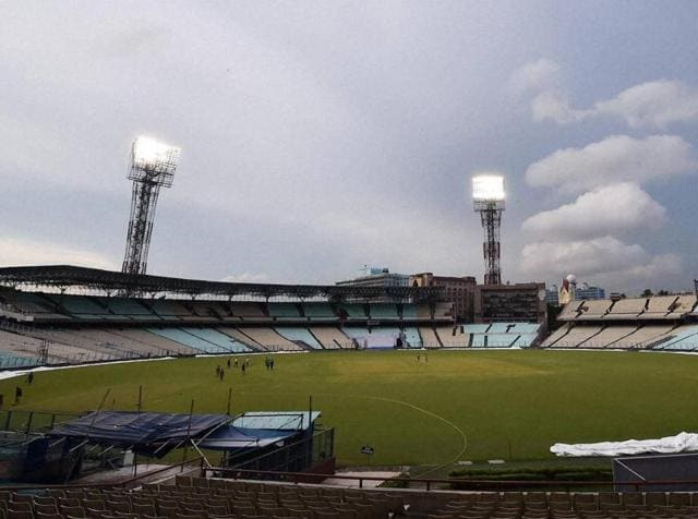 The Eden Gardens covered up due to occasional rains in Kolkata on Tuesday ahead of second Test Match between India and New Zealand.