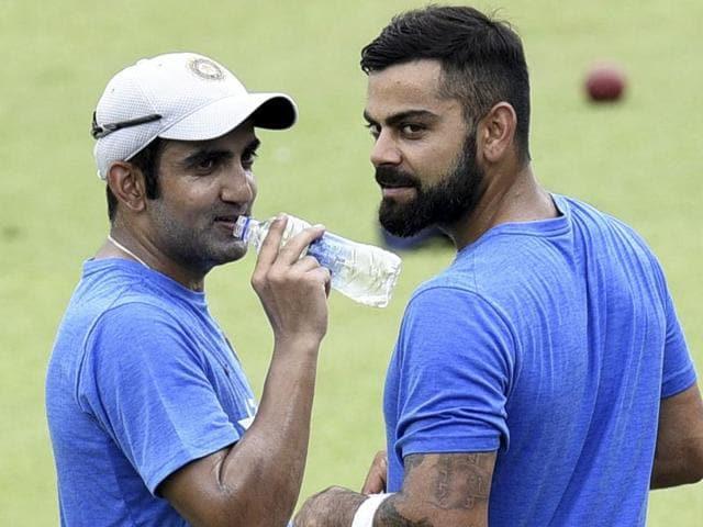 Virat Kohli and Gautam Gambhir at a training session at Eden Garden in Kolkata.