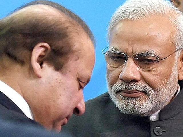 Prime Minister Narendra Modi with his Pakistani counterpart Nawaz Sharif in on November 2014 at the 18th Saarc summit in Kathmandu.