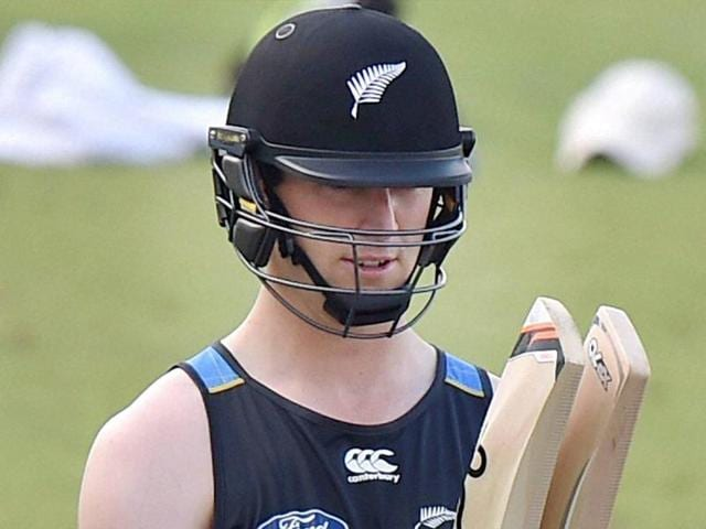 Martin Guptil of New Zealand is being prepared for the net during their training session at Eden Gardens.