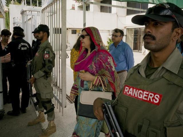 """Pakistani lawmakers leave the Parliament in Islamabad, on September 29, 2016. Pakistan dismissed Indian military reports that it had carried out strikes against """"terrorist launch pads""""."""