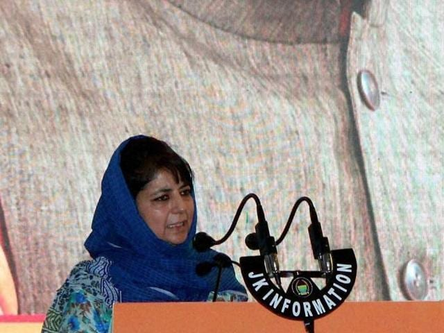 Jammu and Kashmir chief minister Mehbooba Mufti addresses a gathering during the launch of the Pradhan Mantra Ujjwala Yojna in Jammu.