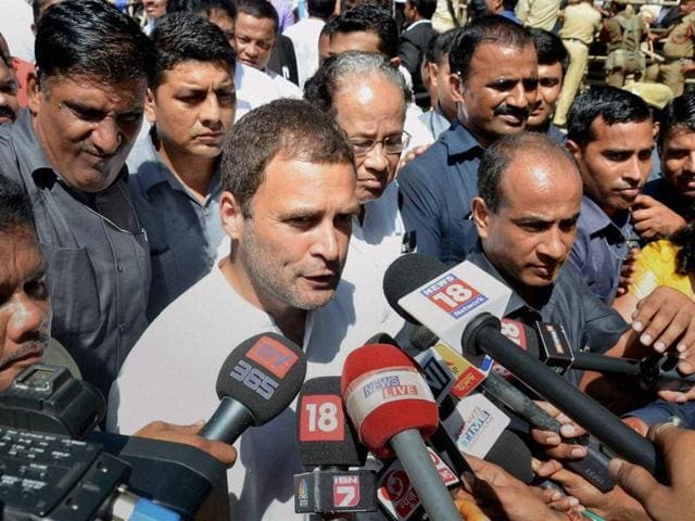 Congress vice-president Rahul Gandhi speaks to the media after appearing in court in connection with a defamation case, in Guwahati on Thursday.