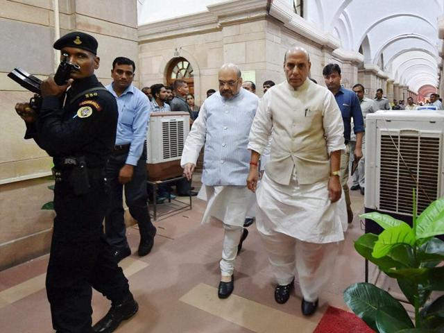 Home minister Rajnath Singh and BJP president Amit Shah arrive to attend an all-party meeting in New Delhi on Thursday following Indian Army operation along the LoC.