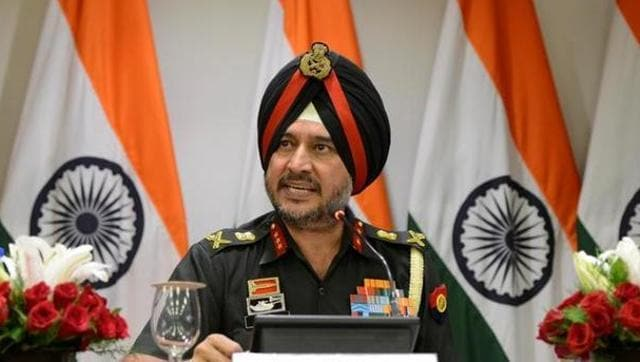 Indian Army's director general of military operations Lt General Ranbir Singh speaks during a media briefing in New Delhi.
