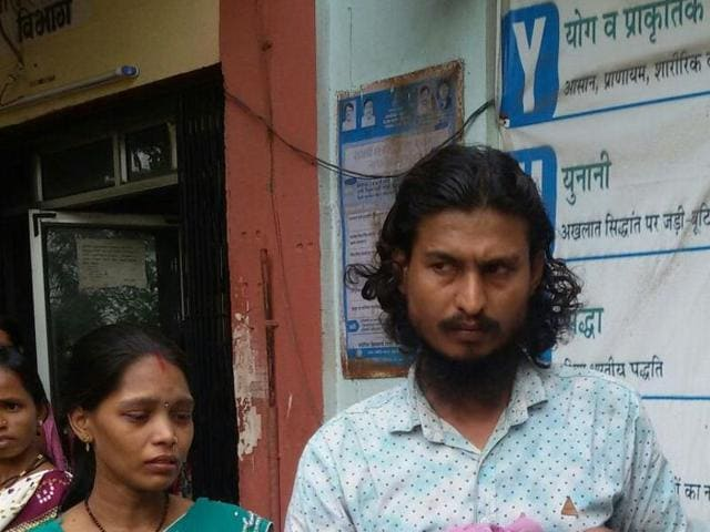 Rakesh, whose daughter died,  at the Wada RH on Thursday.