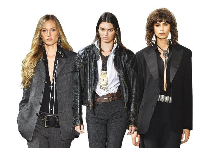 Female models sport the androgynous look on the ramp in gender neutral clothing by Ralph Lauren, at the just concluded New York Fashion Week.(Getty Images)