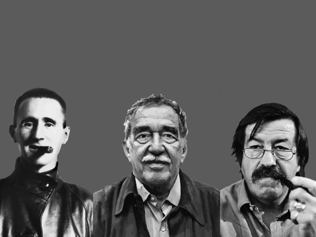 (From Left) Bertolt Brecht, Gabriel Garcia Marquez and Gunter Grass.