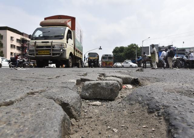 One of the major connecting roads, that also leads to SCLR, guarantees a bumpy ride as the concrete road has developed depressions at various places