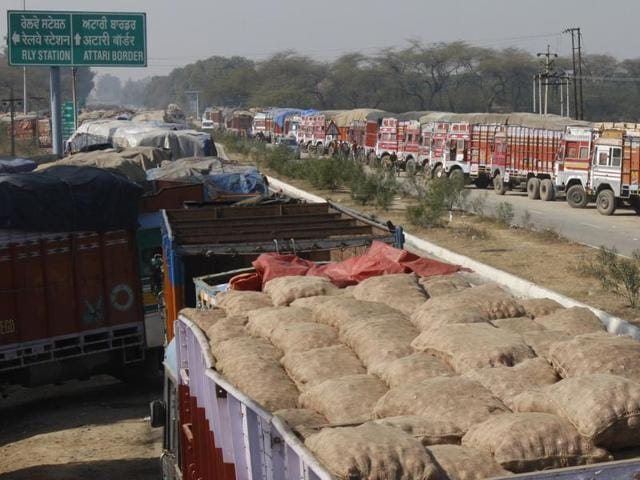 """Amritsar customs commissioner Captain Sanjay Gahlot told PTI on Friday they have """"not witnessed any reduction in number of trucks""""."""