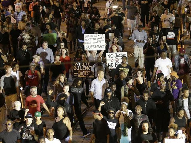 In this file photo, demonstrators protest the fatal police shooting of Keith Lamont Scott in Charlotte, North Carolina.
