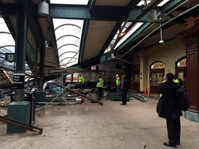 A New Jersey Transit train that derailed and crashed through the station is seen in Hoboken, New Jersey.
